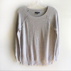 American Eagle sweater gray knit ribbed braided
